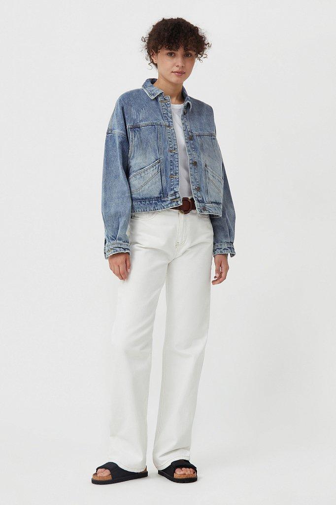 Укороченная джинсовая куртка, Модель B21-15017, Фото №2