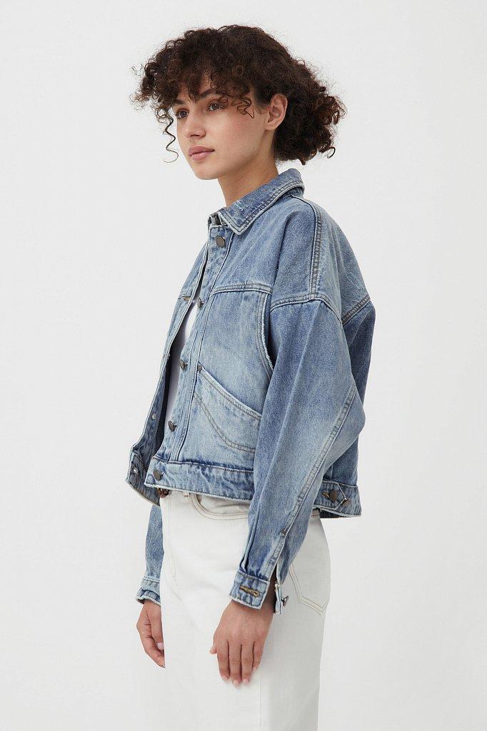 Укороченная джинсовая куртка, Модель B21-15017, Фото №3