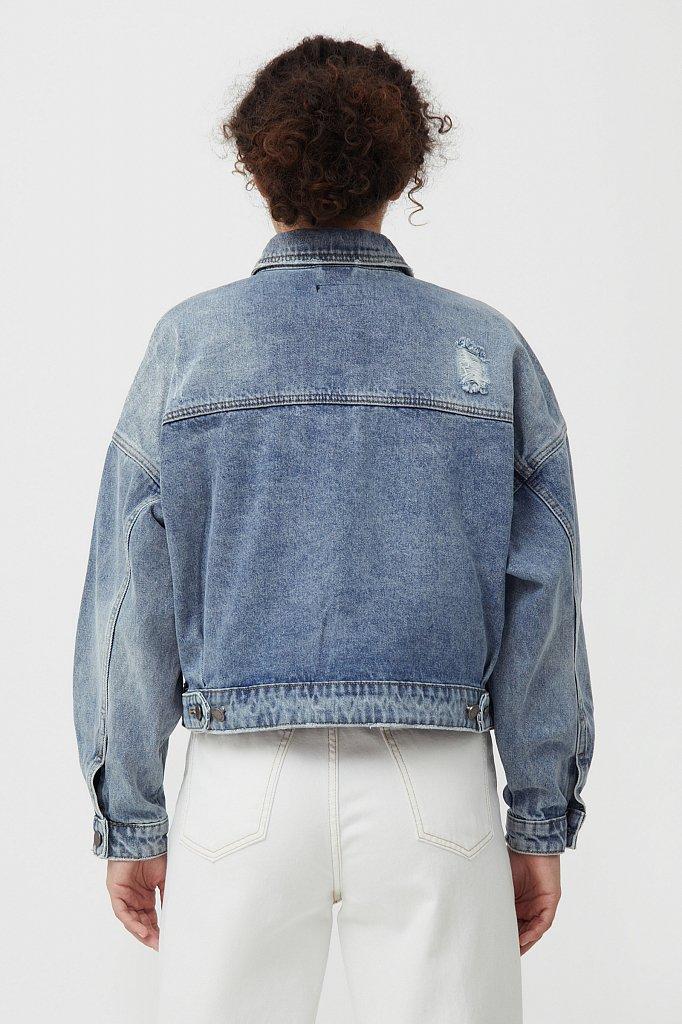 Укороченная джинсовая куртка, Модель B21-15017, Фото №4