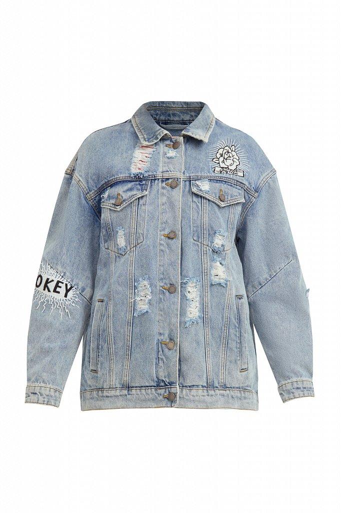 Джинсовая куртка с вышивкой, Модель B21-15018, Фото №7