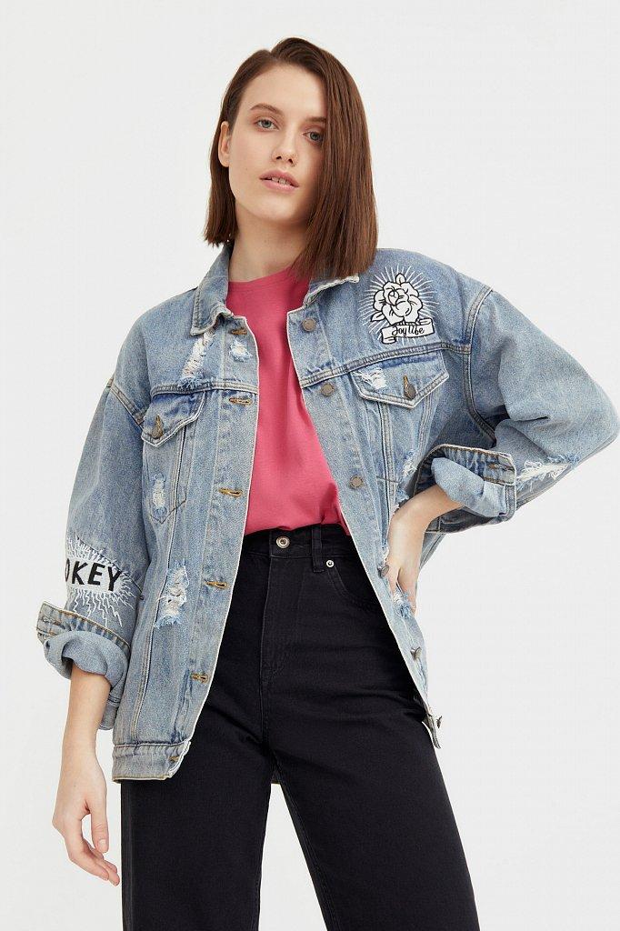 Джинсовая куртка с вышивкой, Модель B21-15018, Фото №1