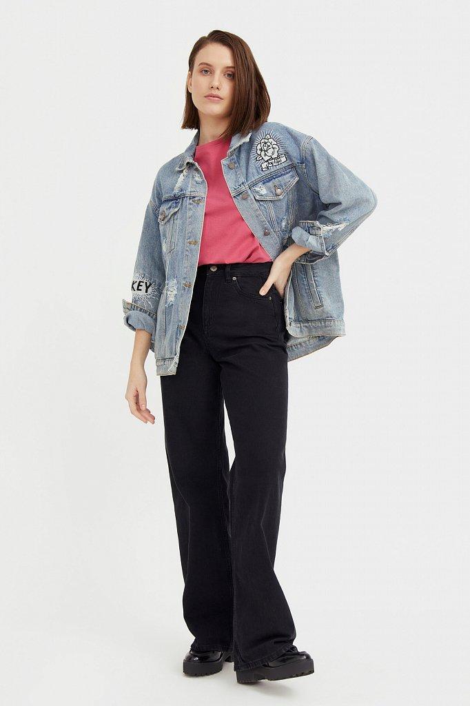 Джинсовая куртка с вышивкой, Модель B21-15018, Фото №2