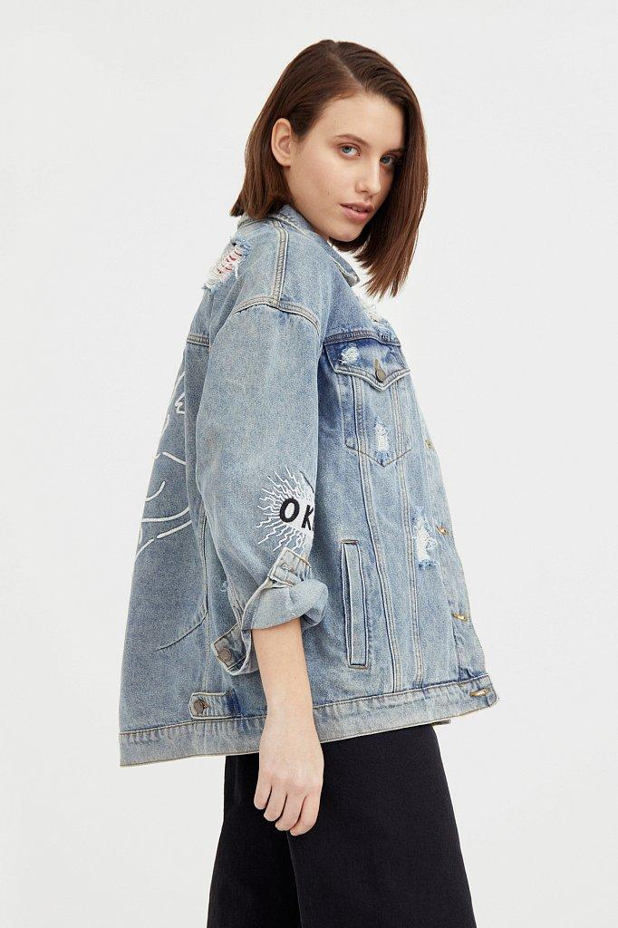 Джинсовая куртка с вышивкой, Модель B21-15018, Фото №3