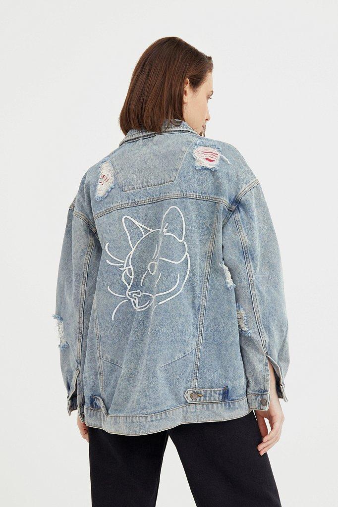 Джинсовая куртка с вышивкой, Модель B21-15018, Фото №4