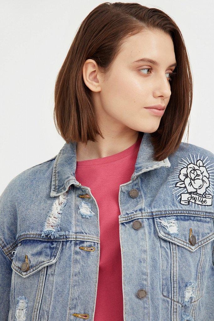 Джинсовая куртка с вышивкой, Модель B21-15018, Фото №6