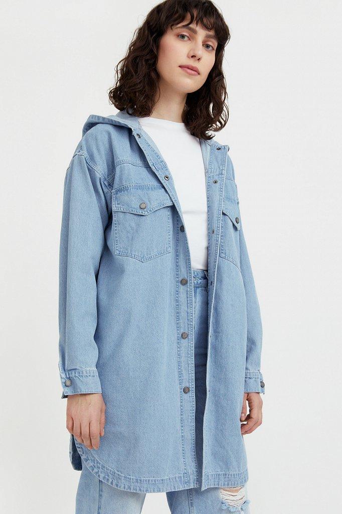 Джинсовая куртка-рубашка с капюшоном, Модель B21-15029, Фото №1