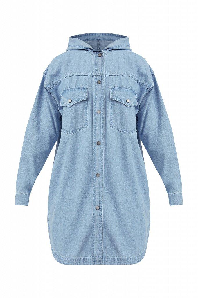 Джинсовая куртка-рубашка с капюшоном, Модель B21-15029, Фото №7