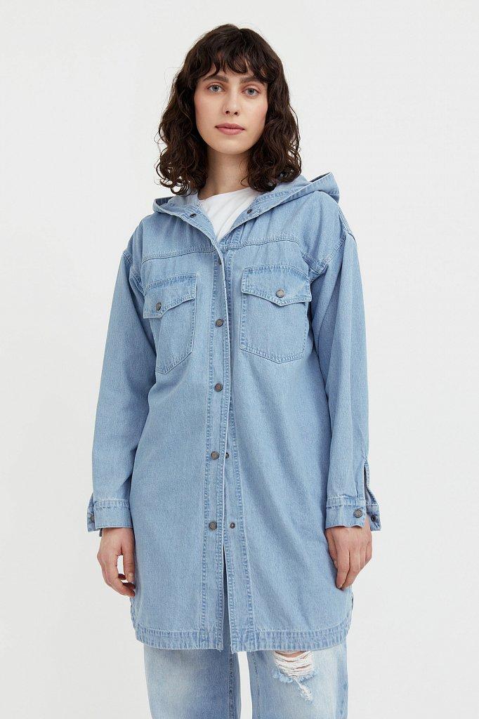 Джинсовая куртка-рубашка с капюшоном, Модель B21-15029, Фото №2