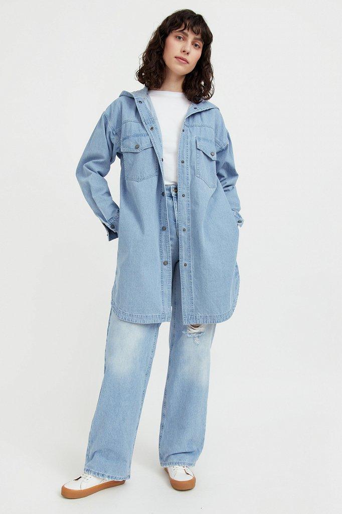 Джинсовая куртка-рубашка с капюшоном, Модель B21-15029, Фото №3