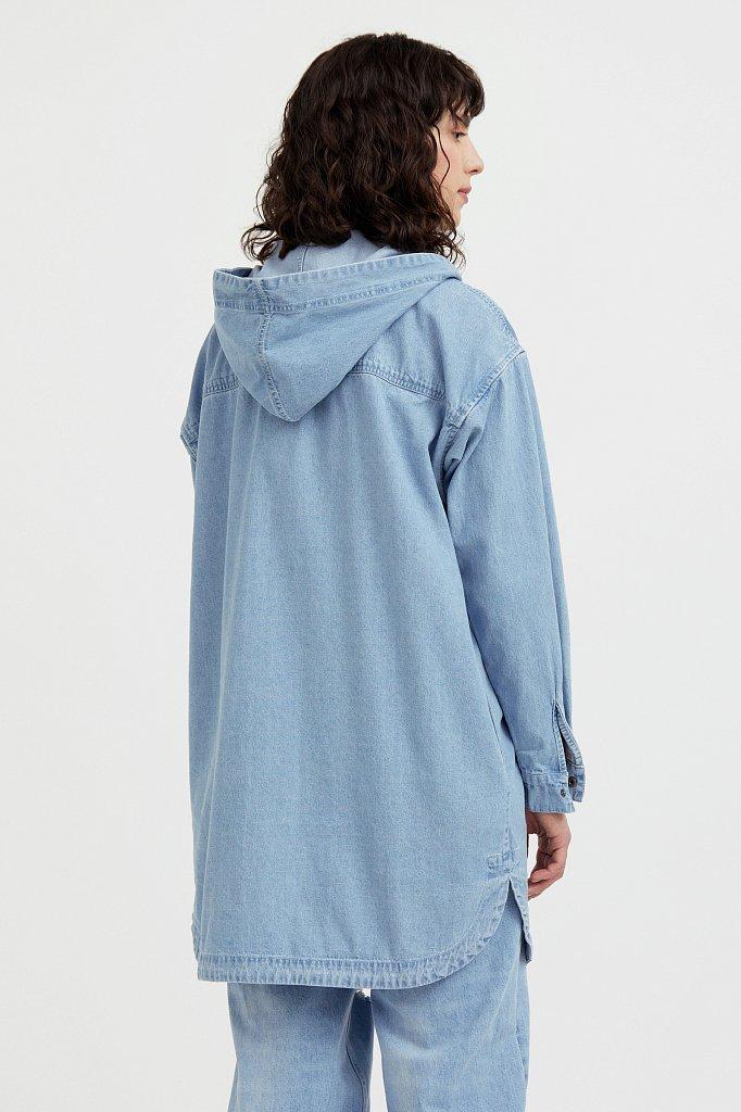 Джинсовая куртка-рубашка с капюшоном, Модель B21-15029, Фото №4