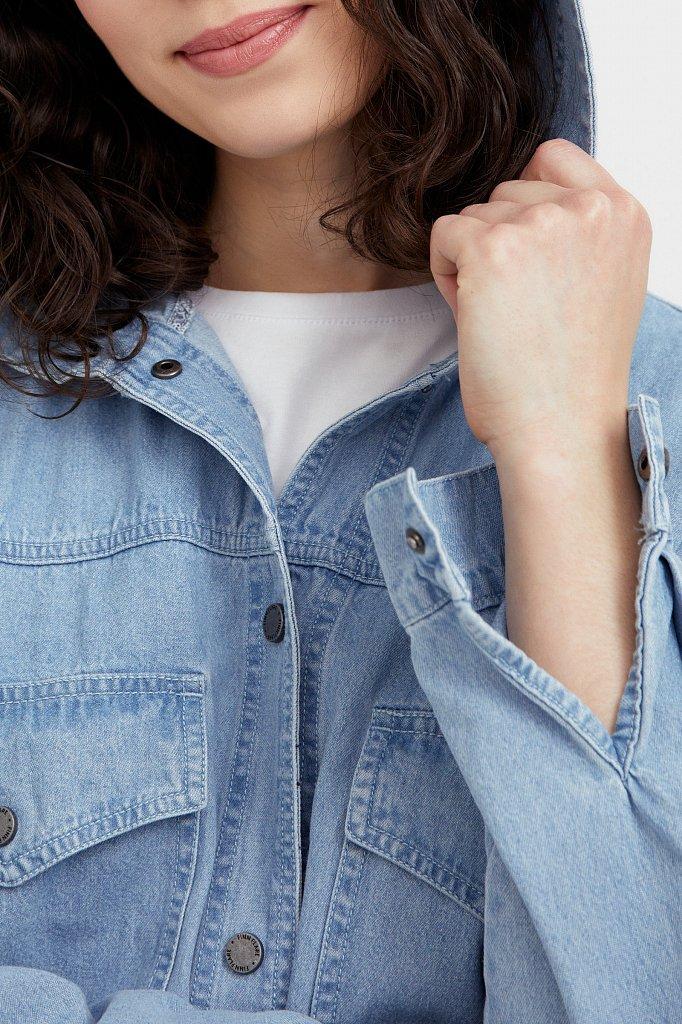 Джинсовая куртка-рубашка с капюшоном, Модель B21-15029, Фото №5