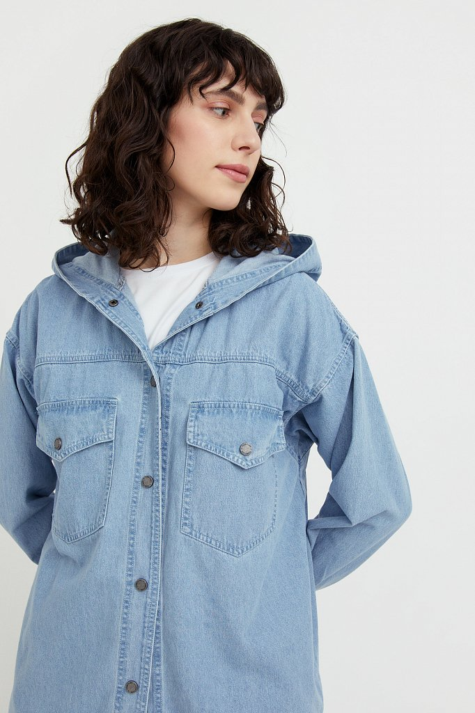 Джинсовая куртка-рубашка с капюшоном, Модель B21-15029, Фото №6