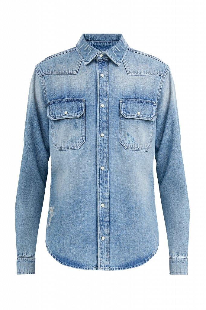 Куртка-рубашка из денима, Модель B21-25019, Фото №7