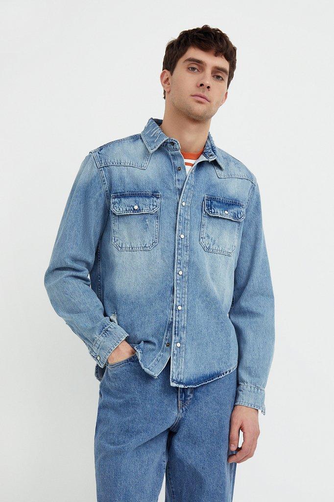 Куртка-рубашка из денима, Модель B21-25019, Фото №1