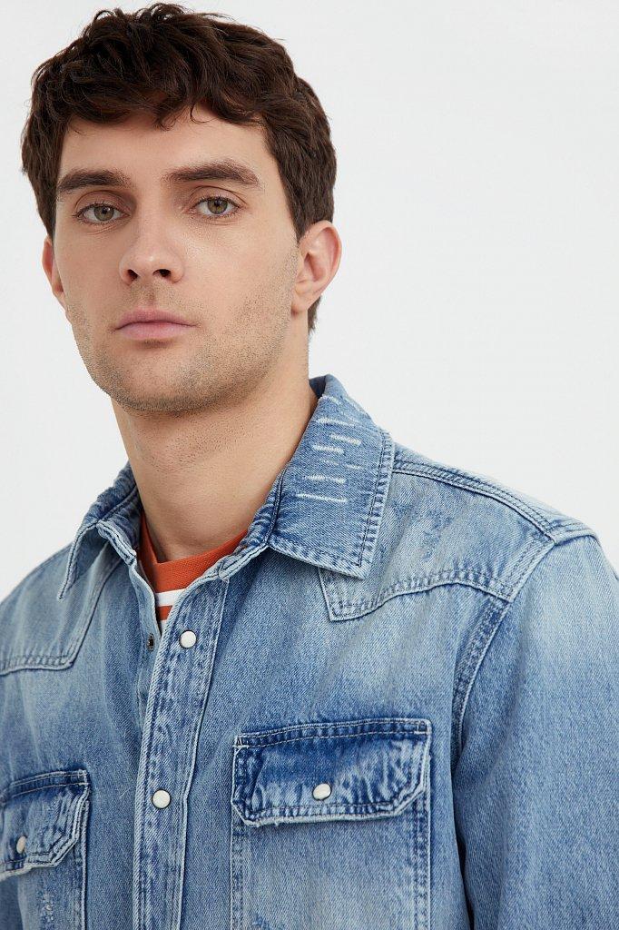 Куртка-рубашка из денима, Модель B21-25019, Фото №6