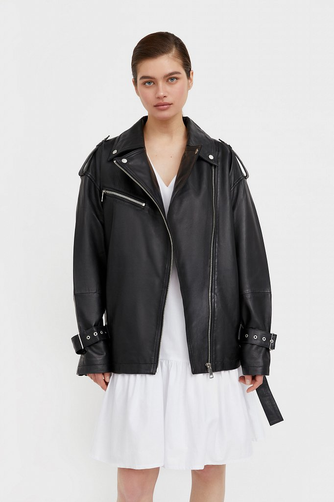 Куртка кожаная женская, Модель B21-11802, Фото №1