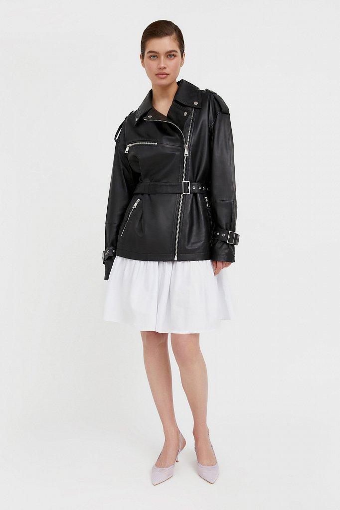 Куртка кожаная женская, Модель B21-11802, Фото №2