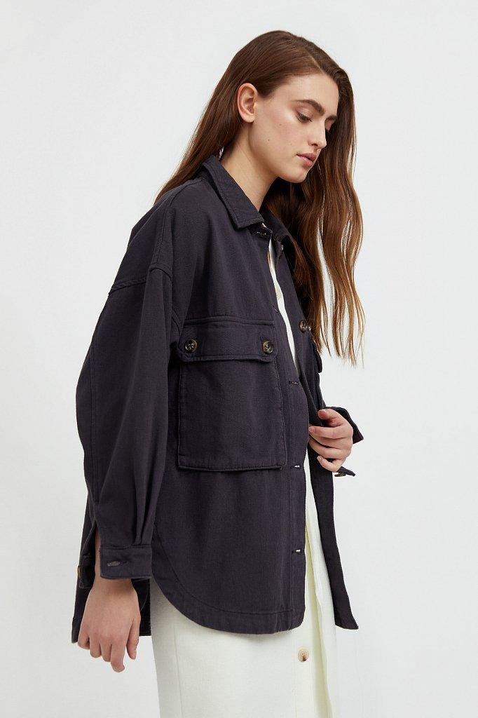 Куртка-рубашка из 100% хлопка, Модель B21-15025, Фото №3