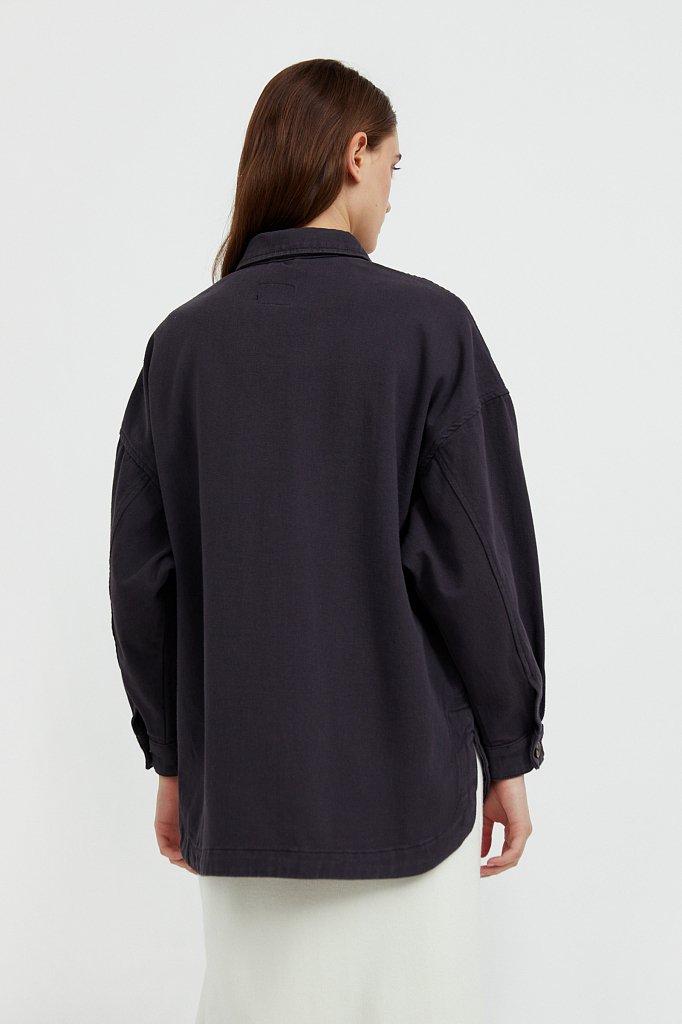 Куртка-рубашка из 100% хлопка, Модель B21-15025, Фото №4