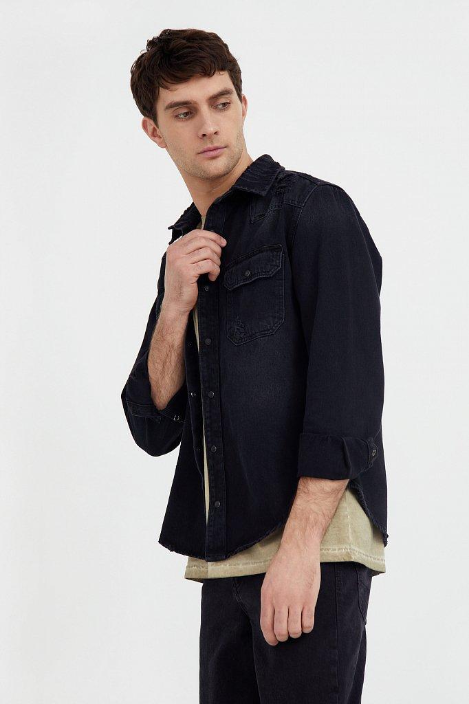 Куртка-рубашка из денима, Модель B21-25019, Фото №3