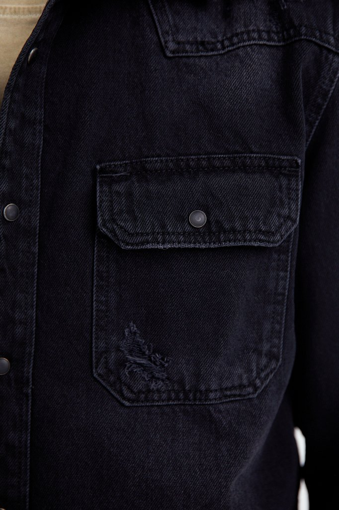 Куртка-рубашка из денима, Модель B21-25019, Фото №5