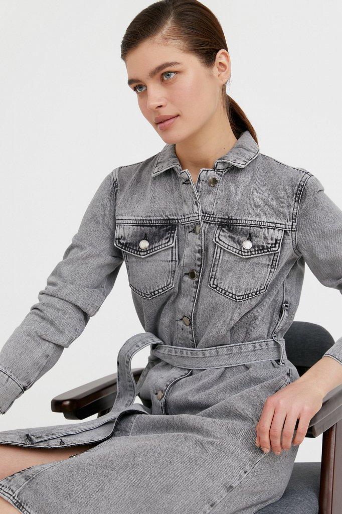 Платье-рубашка из серого денима, Модель B21-15030, Фото №1