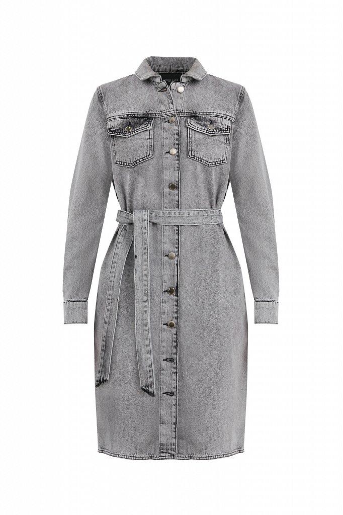 Платье-рубашка из серого денима, Модель B21-15030, Фото №8
