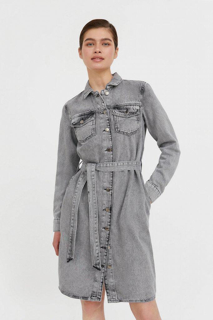 Платье-рубашка из серого денима, Модель B21-15030, Фото №2