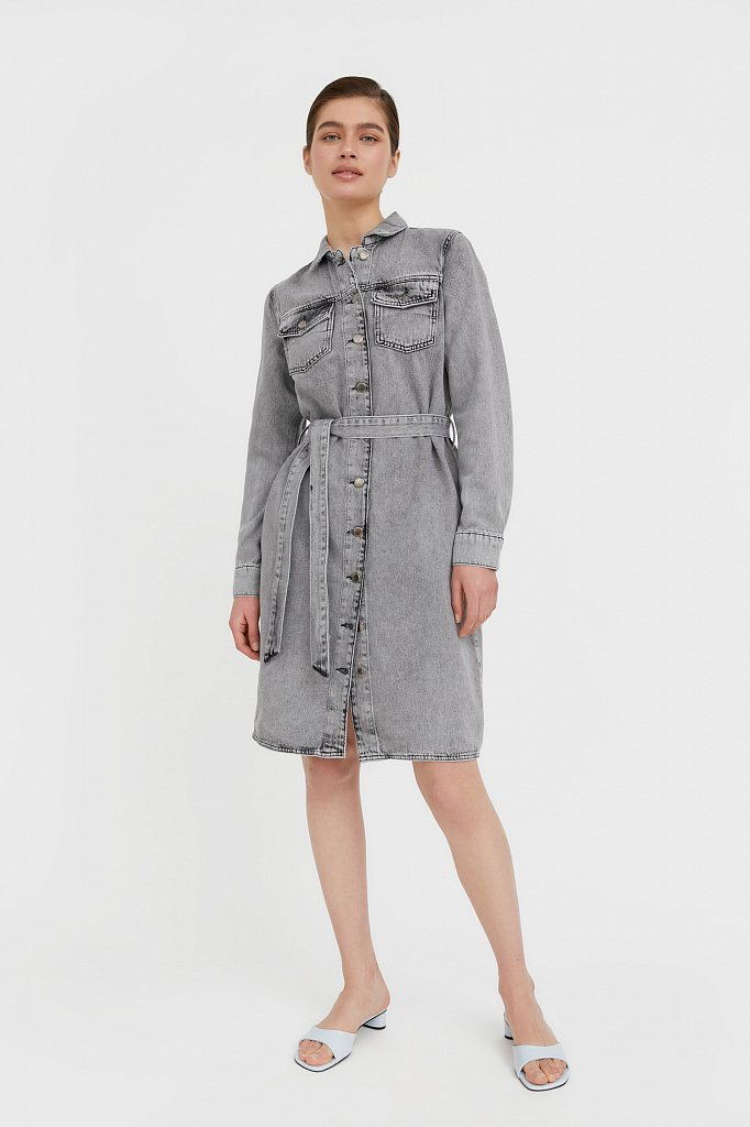 Платье-рубашка из серого денима, Модель B21-15030, Фото №3