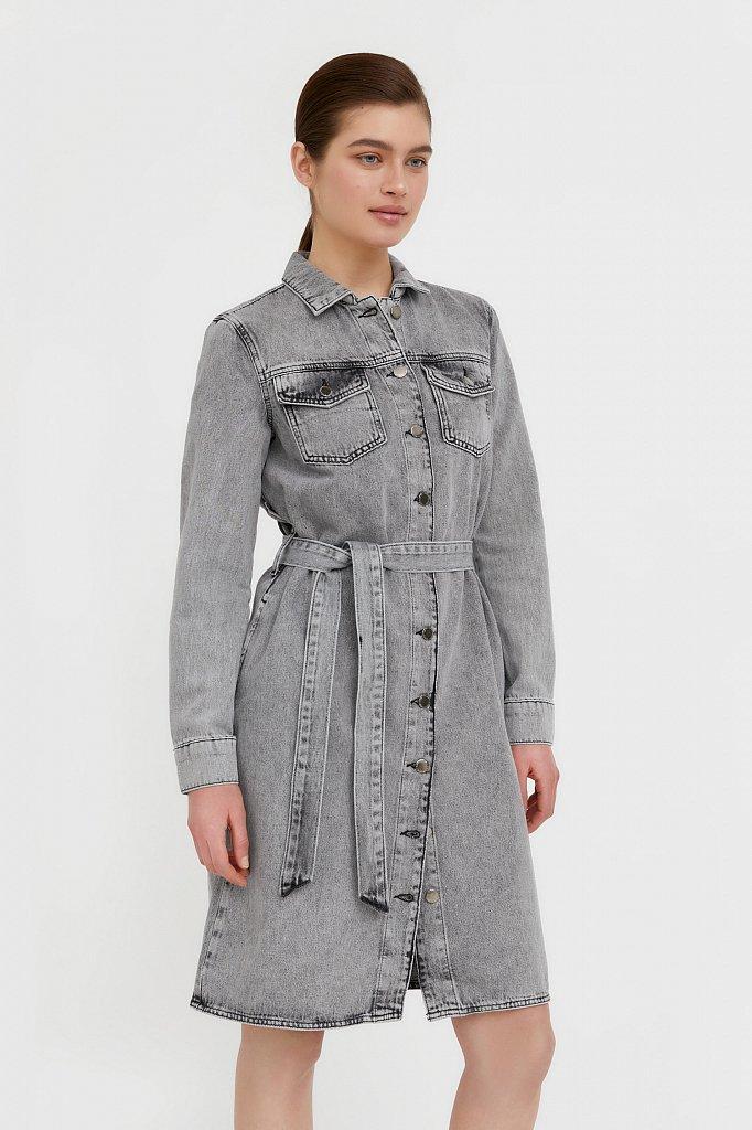 Платье-рубашка из серого денима, Модель B21-15030, Фото №4