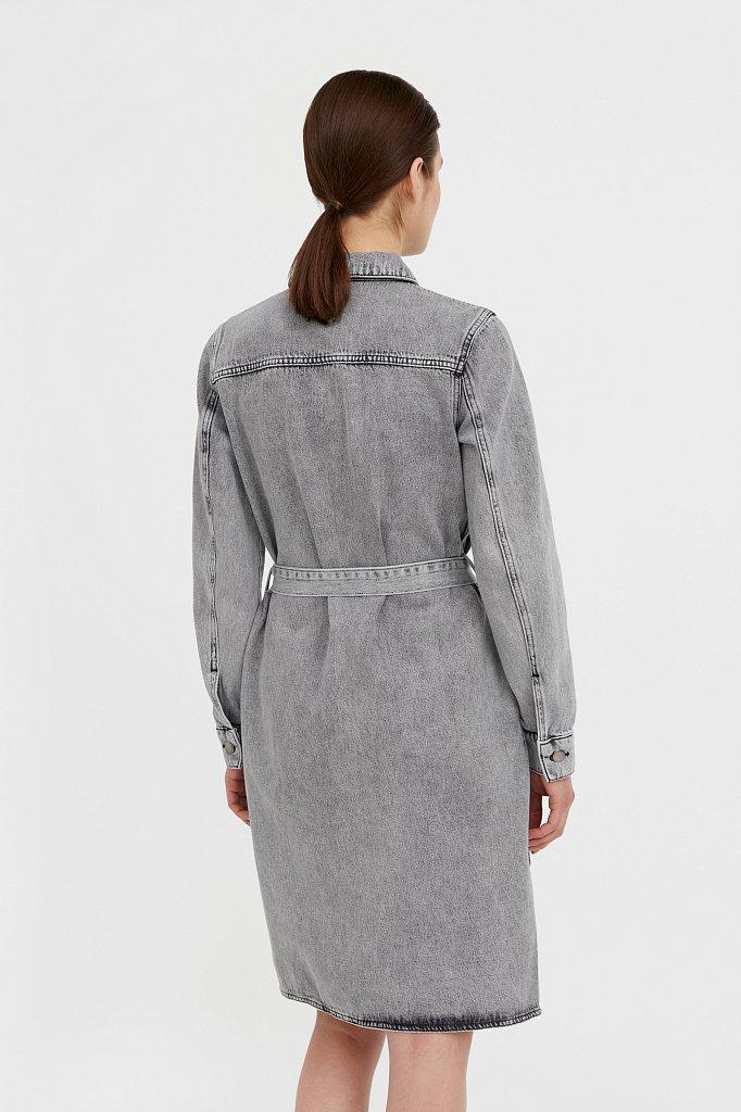 Платье-рубашка из серого денима, Модель B21-15030, Фото №5