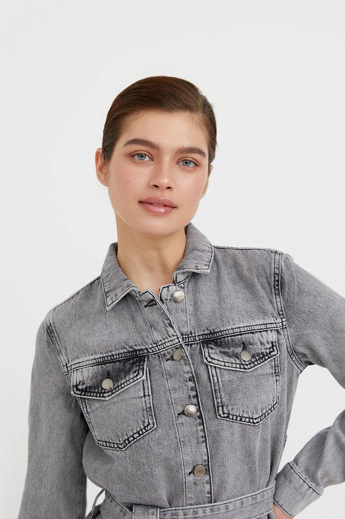 Платье-рубашка из серого денима, Модель B21-15030, Фото №7