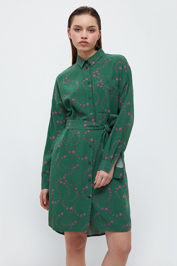 Платье-рубашка с цветочным принтом, Модель B21-32048, Фото №1