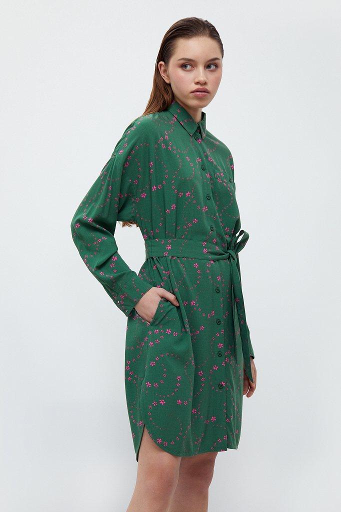 Платье-рубашка с цветочным принтом, Модель B21-32048, Фото №3