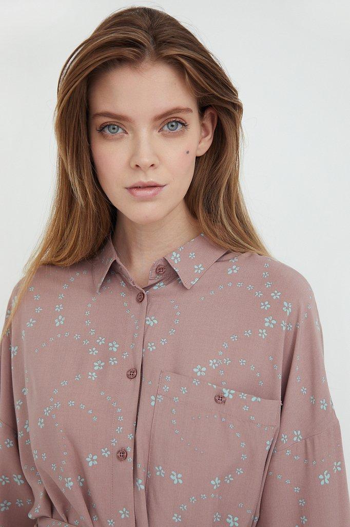 Платье-рубашка с цветочным принтом, Модель B21-32048, Фото №6