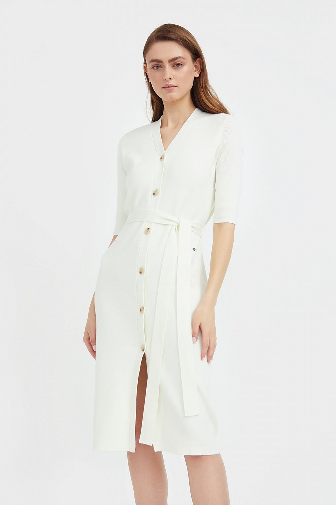 Трикотажное платье-рубашка с короткими рукавами, Модель B21-11146, Фото №3