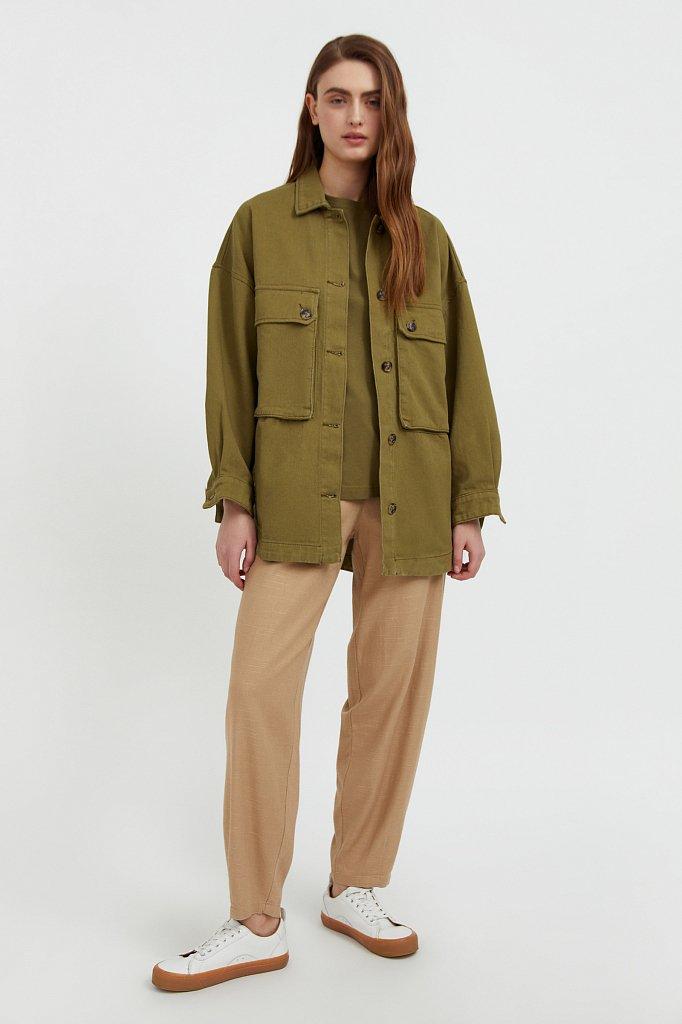 Куртка-рубашка из 100% хлопка, Модель B21-15025, Фото №2