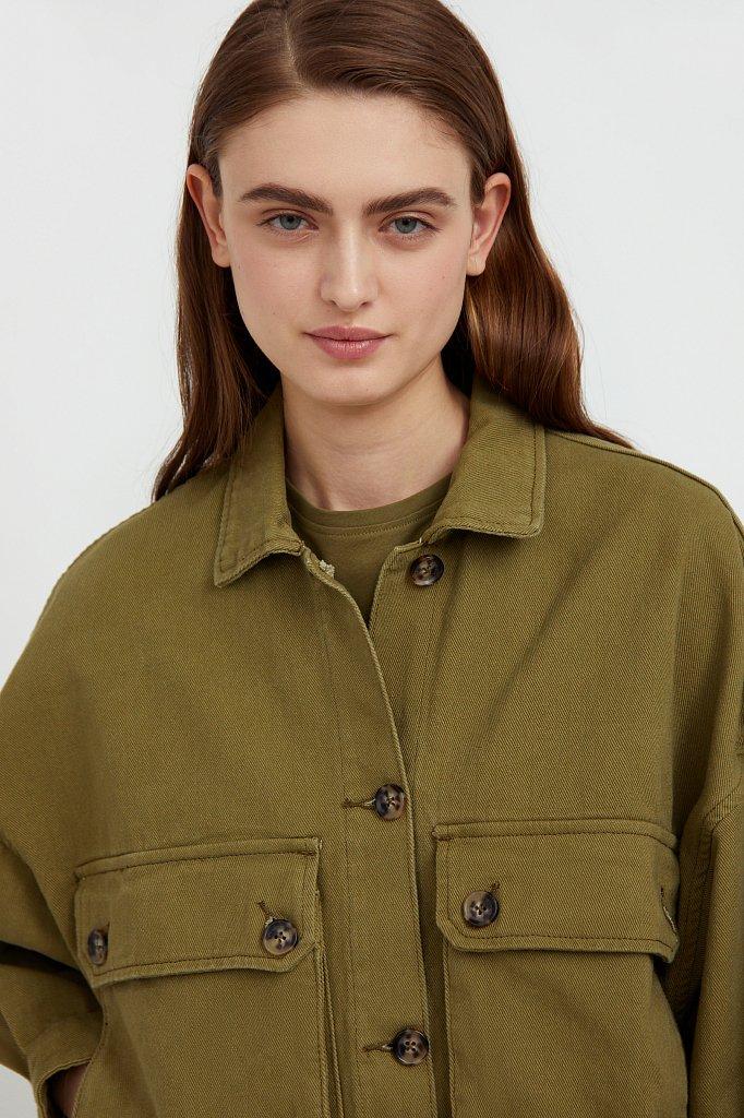Куртка-рубашка из 100% хлопка, Модель B21-15025, Фото №7