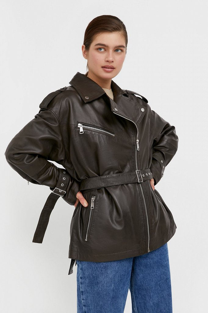 Куртка кожаная женская, Модель B21-11802, Фото №3