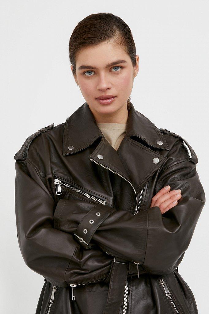 Куртка кожаная женская, Модель B21-11802, Фото №5