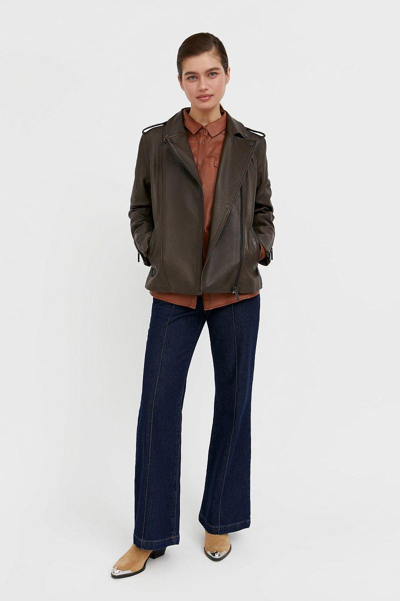Куртка кожаная женская, Модель B21-11811, Фото №2