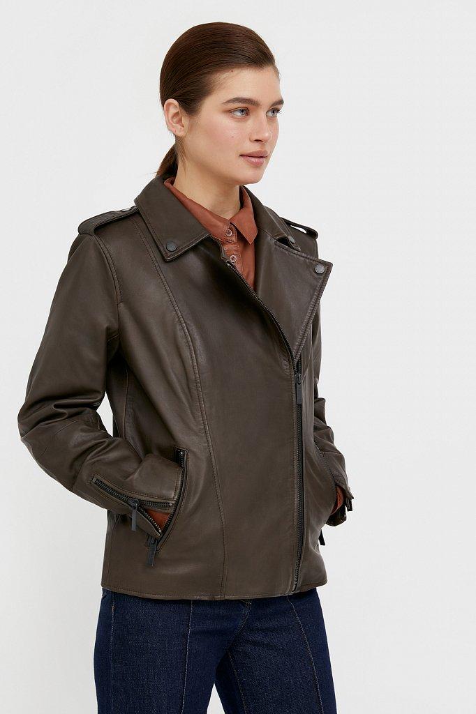 Куртка кожаная женская, Модель B21-11811, Фото №3