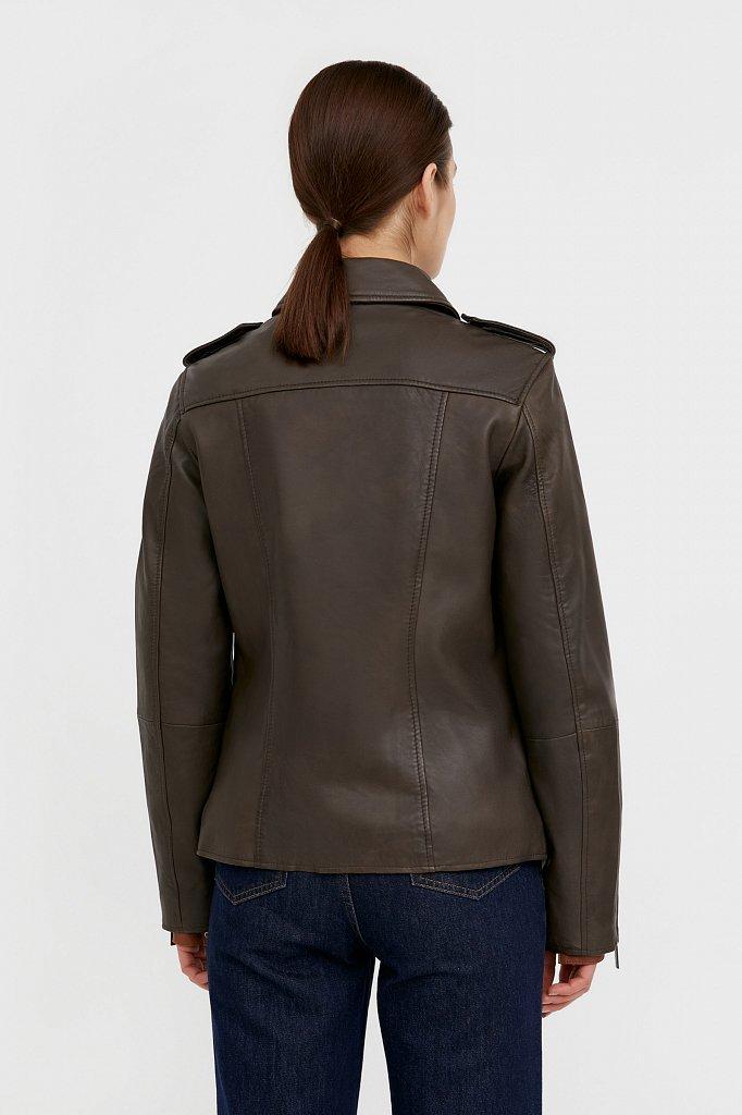 Куртка кожаная женская, Модель B21-11811, Фото №4
