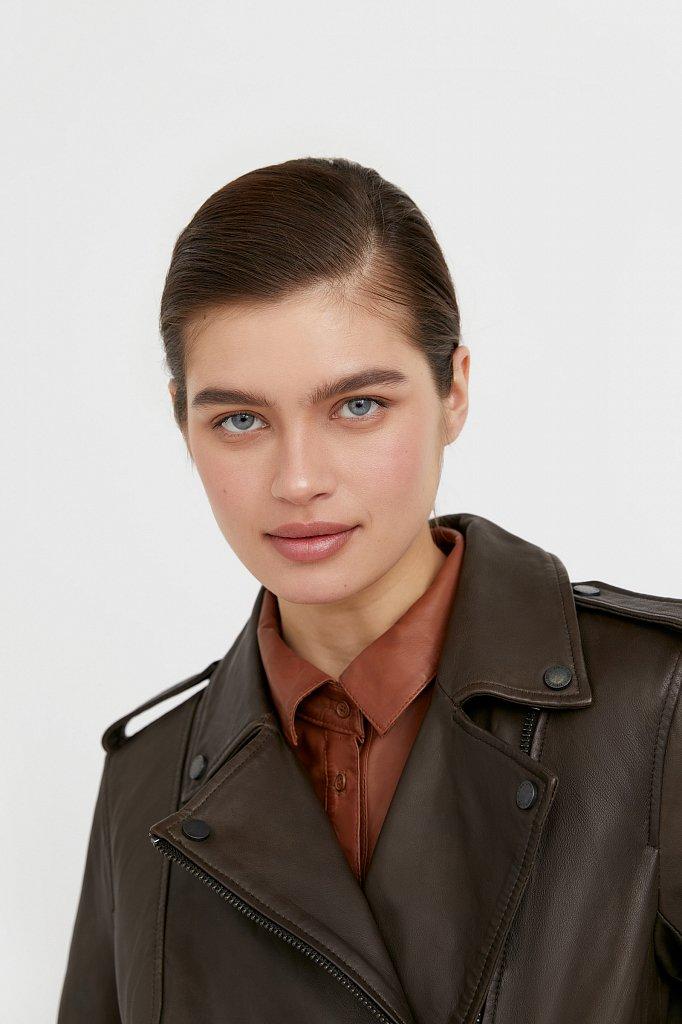 Куртка кожаная женская, Модель B21-11811, Фото №6