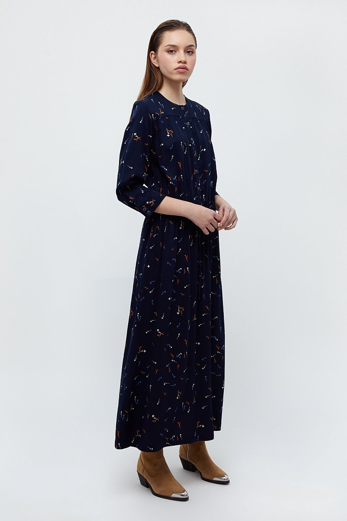 Платье на кулиске с растительным принтом, Модель BA21-12030, Фото №2