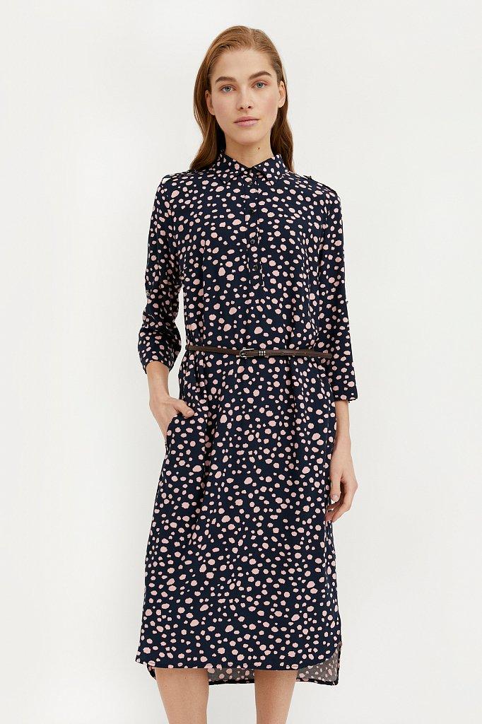 Платье с принтом из мягкой вискозы, Модель BA21-12071, Фото №1