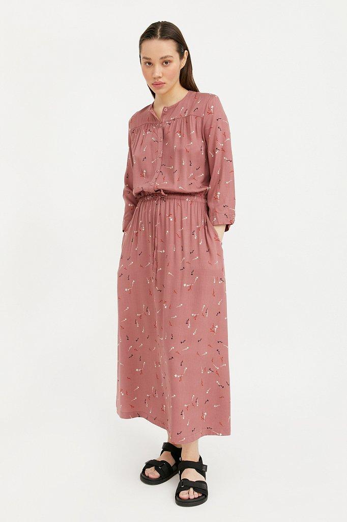 Платье на кулиске с растительным принтом, Модель BA21-12030, Фото №1