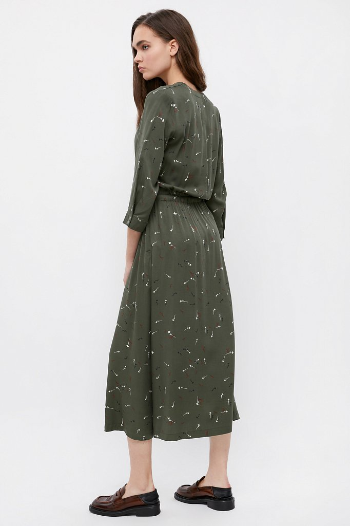 Платье на кулиске с растительным принтом, Модель BA21-12030, Фото №3