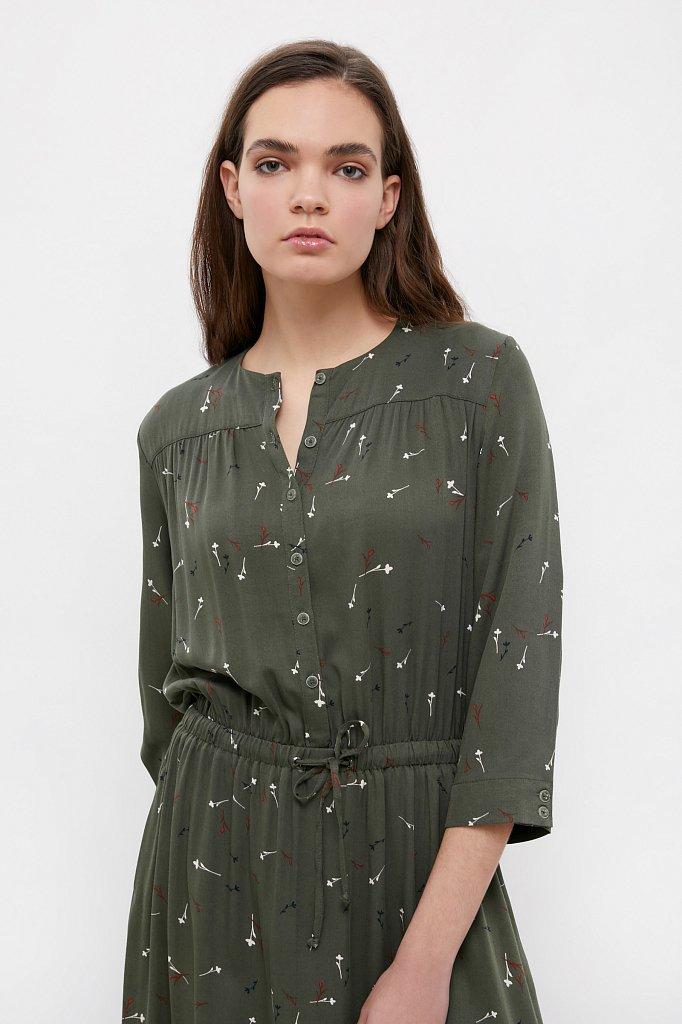 Платье на кулиске с растительным принтом, Модель BA21-12030, Фото №4