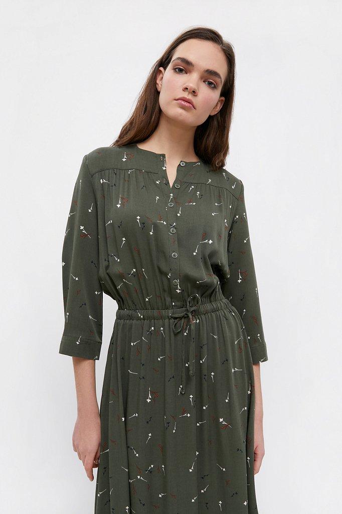 Платье на кулиске с растительным принтом, Модель BA21-12030, Фото №5